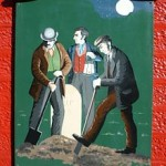 Body snatchers at work. A painting on the wall of a public house in Penicuik, Scotland.