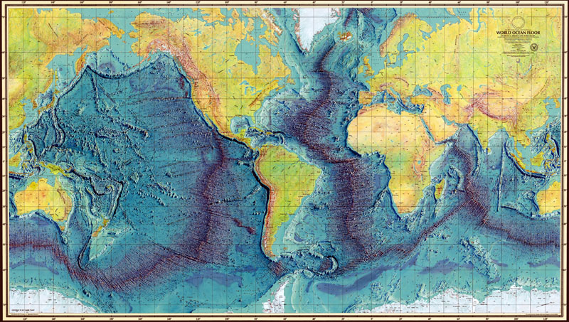 The final published version of a Marie Tharp ocean bathymetry map